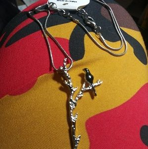 Sterling Silver Raven on Tree Branch Necklace